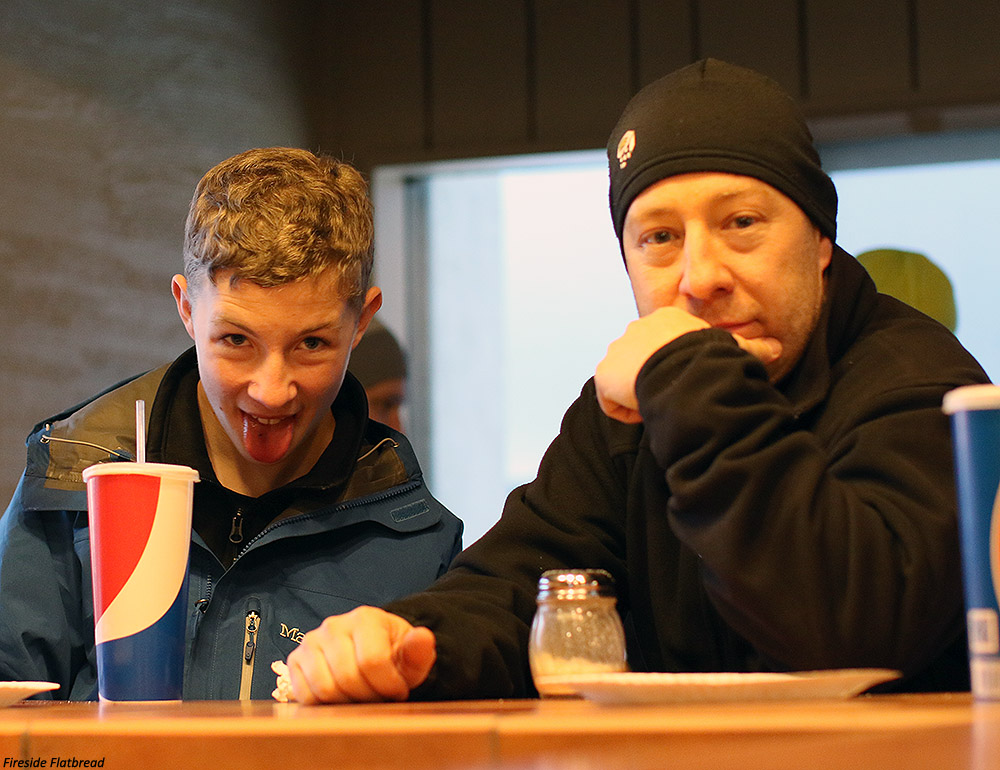 An image of Ty and Jay at the bar at Fireside Flatbread Pizzeria at Bolton Valley Ski Resort in Vermont