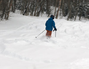 An image of Ty Telemark skiing in powder on the Snowflake Bentley trail at Bolton Valley Resort in Vermont
