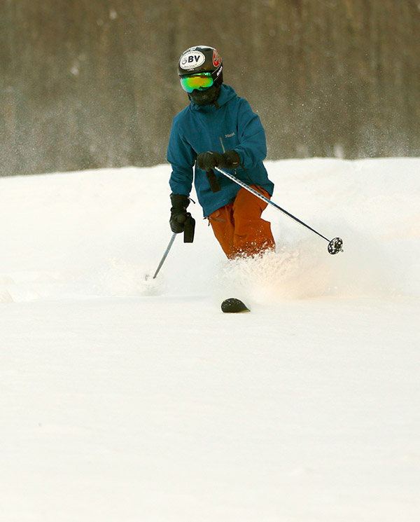 An image of Ty Telemark skiing at Bolton Valley Resort in Vermont