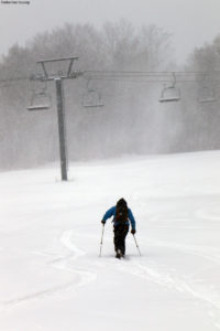An image of Quinn skinning up in the Timberline area at Bolton Valley Ski Resort in Vermont