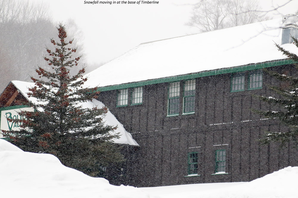 An image of the Timberline Lodge with some snowfall at Bolton Valley Ski Resort in Vermont