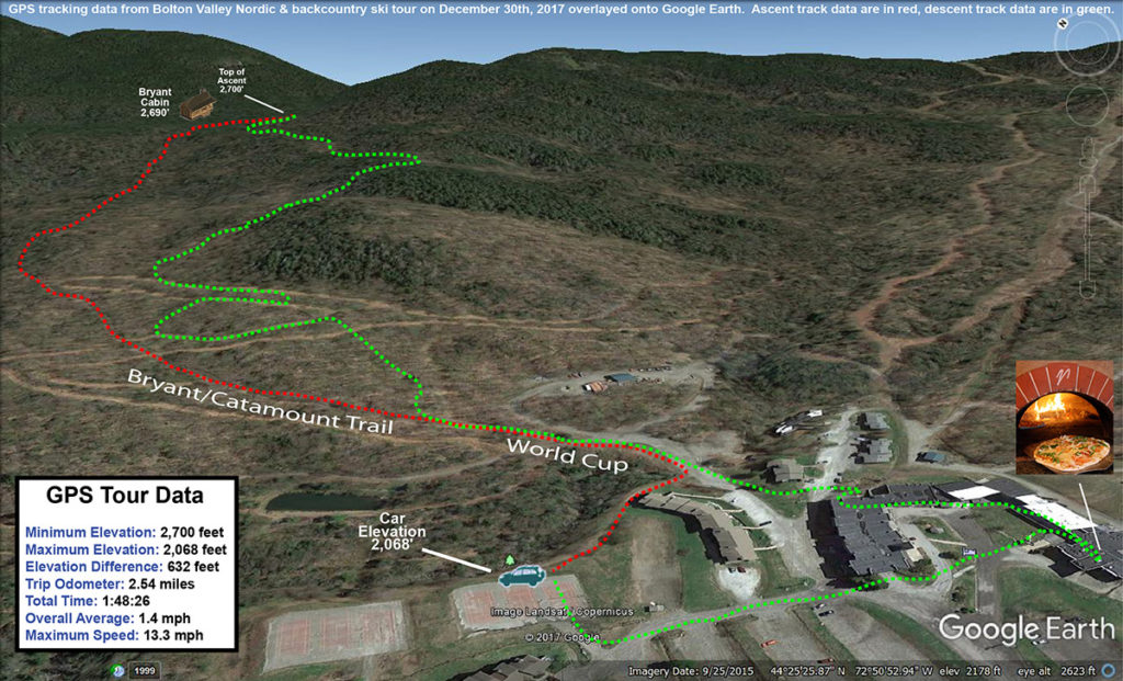 A map with a GPS tracking data plotted onto Google Earth for a ski tour on the Nordic and Backcountry network at Bolton Valley Resort on December 30th, 2017