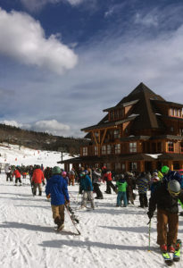 An image of the Spruce Peak base area at Stowe Mountain Resort in Vermont