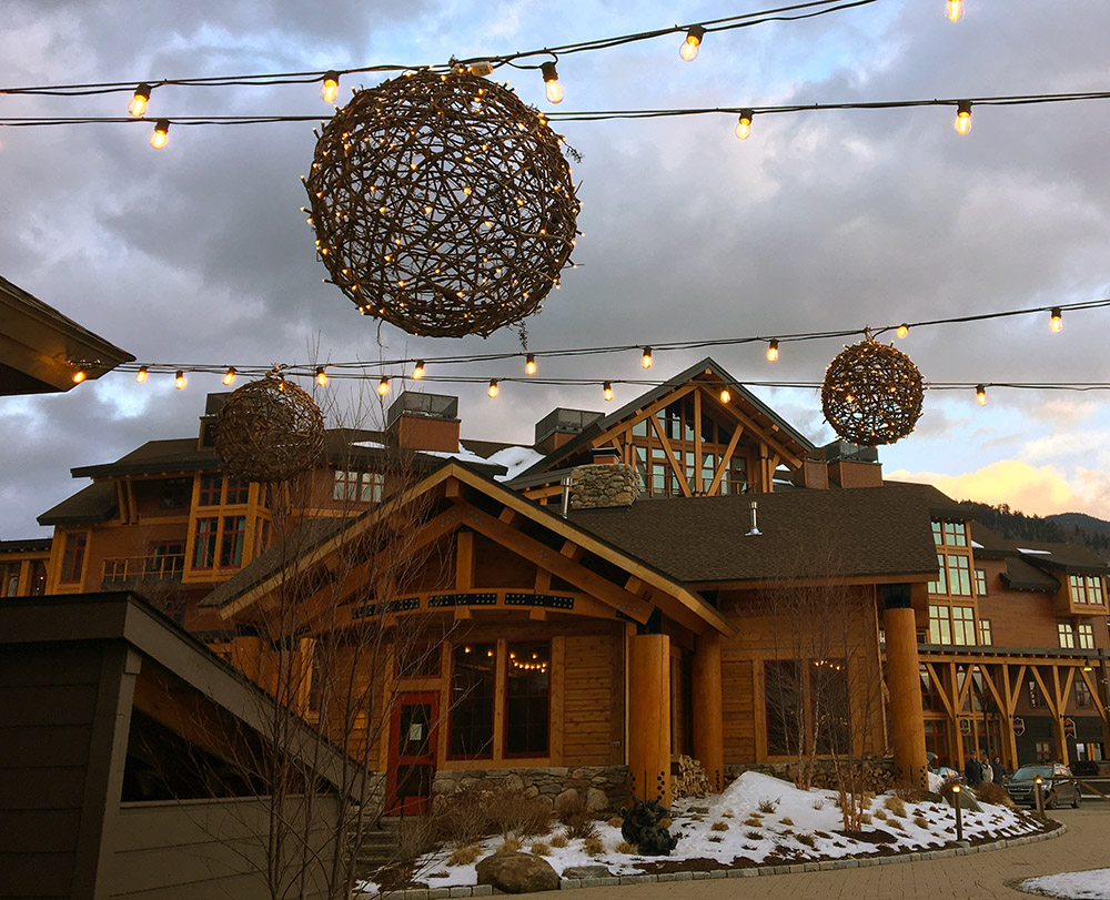 An image of some lights in the Spruce Peak Village at Stowe Mountain Resort in Vermont