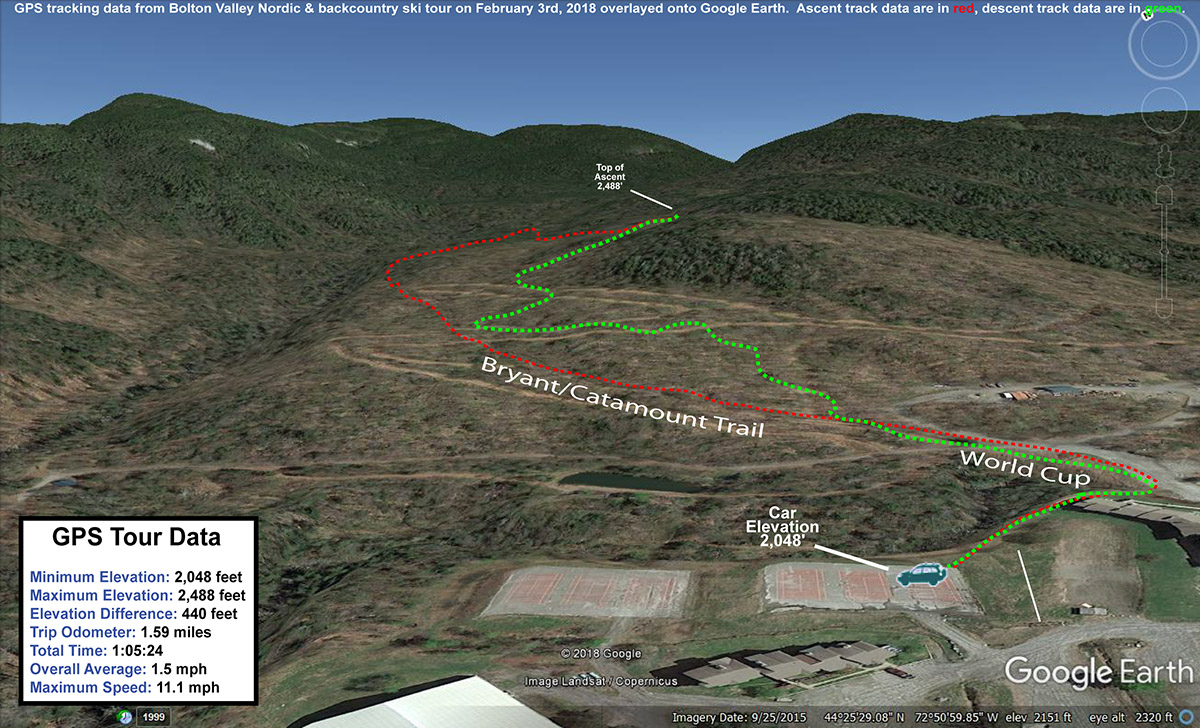 A Google Earth map showing GPS tracking data for a ski tour on the backcountry ski network at Bolton Valley Resort in Vermont