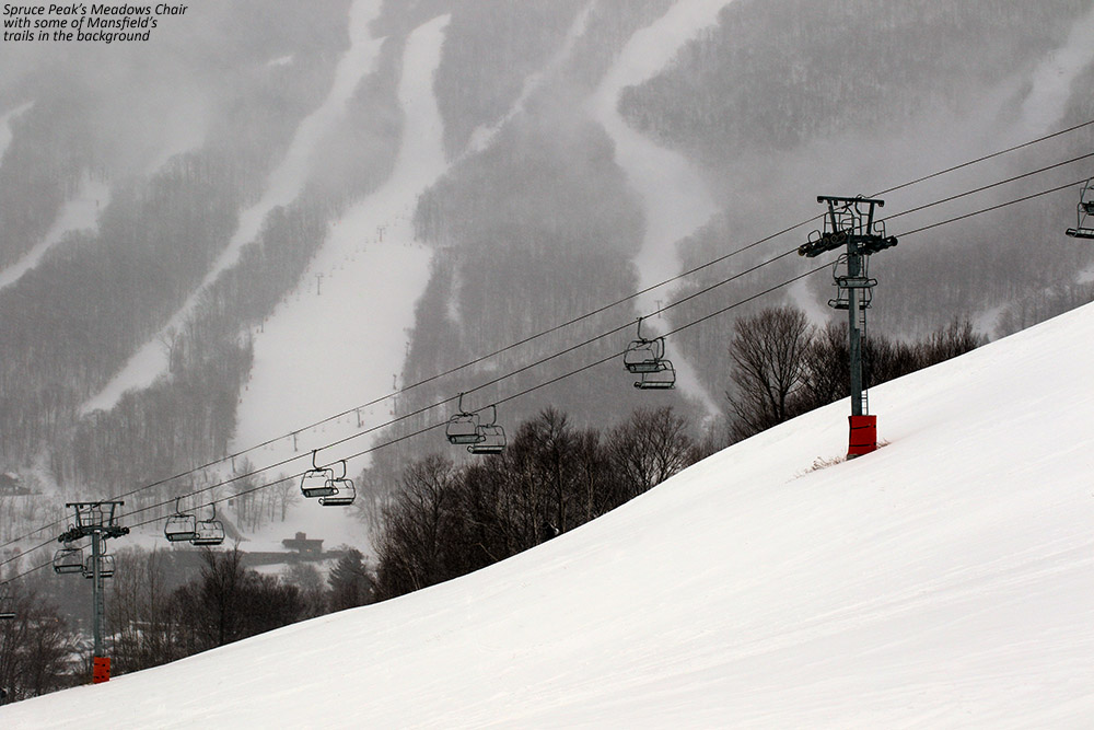 An image of the Meadows Chairlift and some of the trails on Mt. Mansfield in the background at Stowe Mountain Resort in Vermont