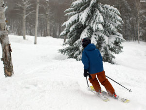 An image of Ty skiing the Glades trail at Bolton Valley Ski Resort in Vermont