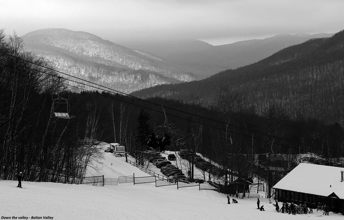 an image looking down Bolton Valley toward the Winooski Valley at the Timberline area of Bolton Valley Ski Resort in Vermont