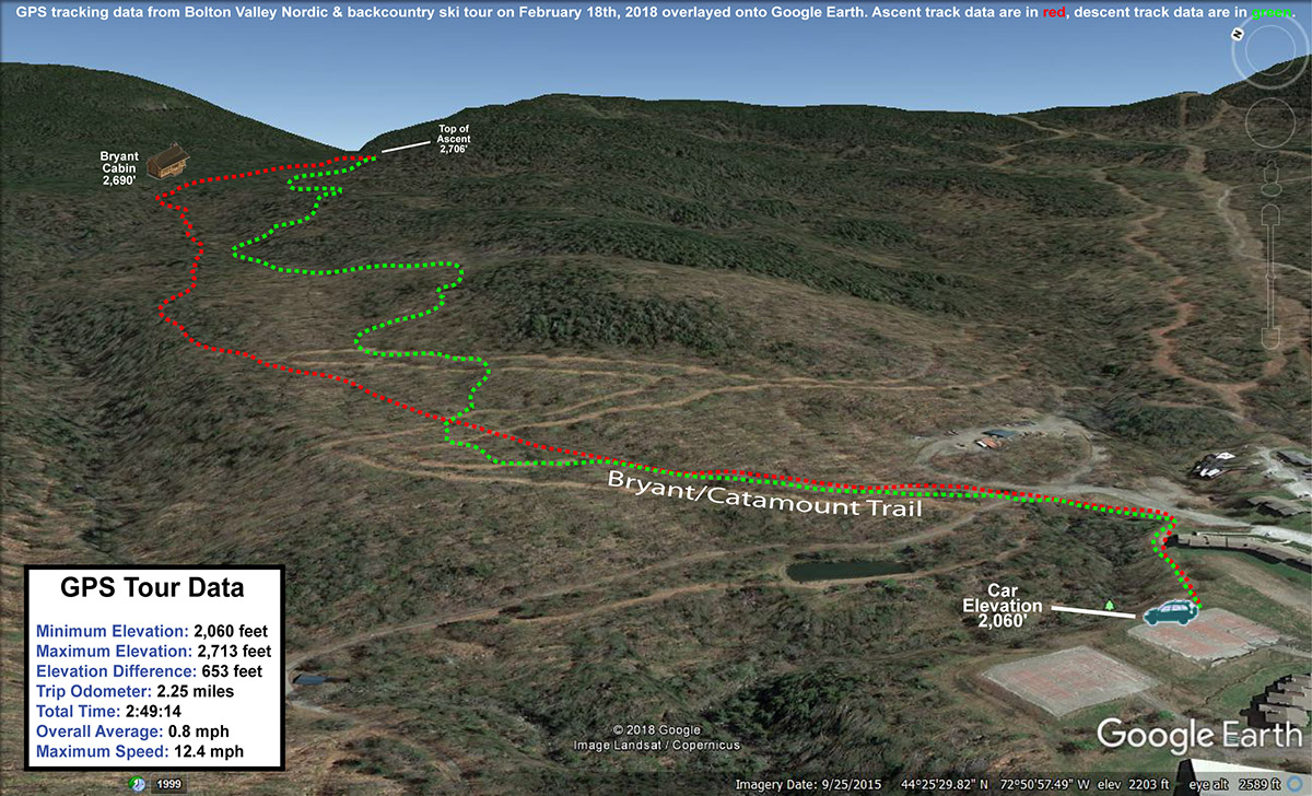 A Google Earth map overlayed with GPS tracking data from a ski tour in the backcountry near Bolton Valley Resort in Vermont