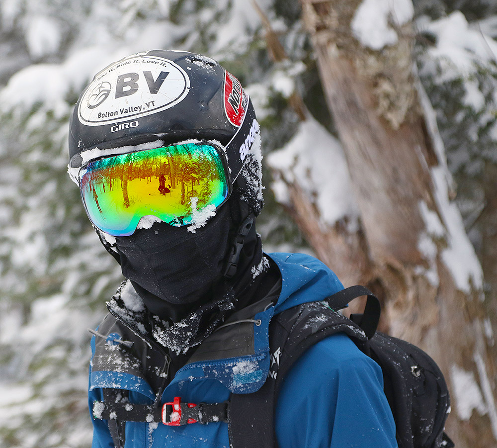 An image of Ty in the backcountry near Bolton Valley Ski Resort in Vermont