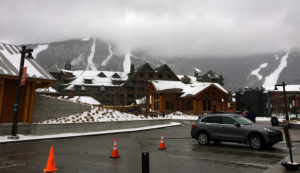 An image of the trails of Mt. Mansfield from the Spruce Peak Village at Stowe Mountain Resort in Vermont