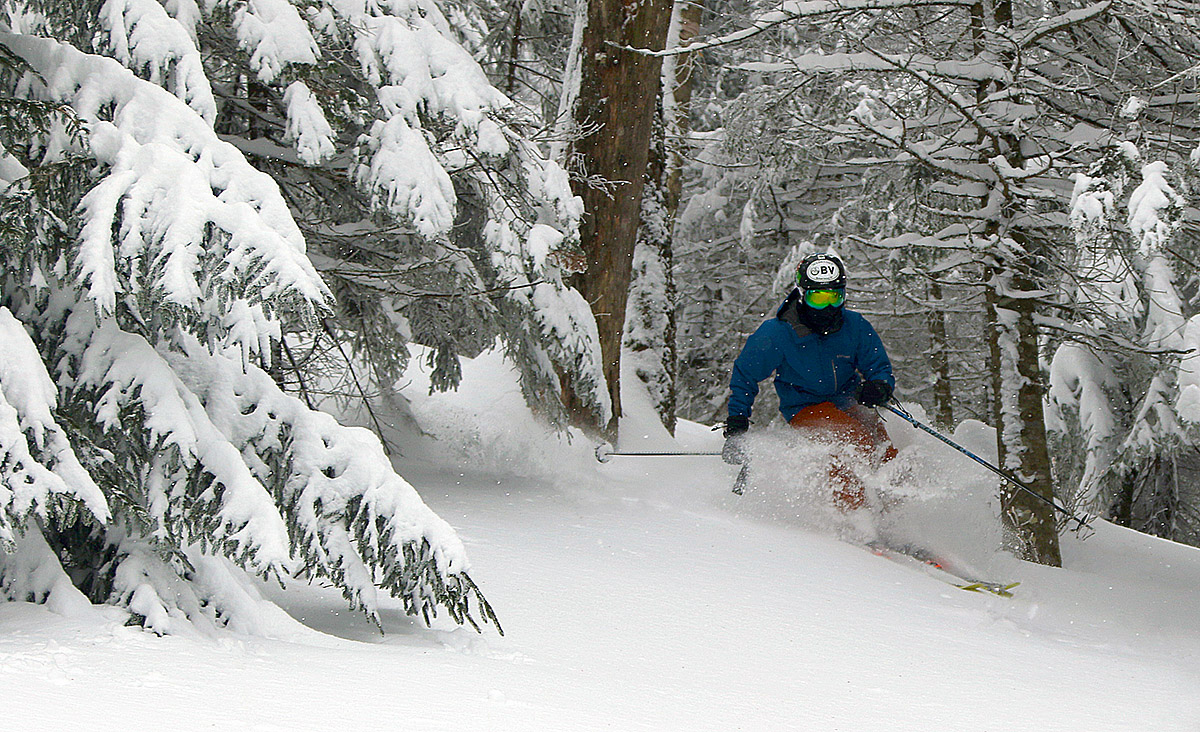 An image of Ty skiing in the Villager Trees area of Bolton Valley Resort in Vermont