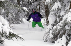 An image of Stephen skiing in the Villager Trees area of Bolton Valley Resort in Vermont