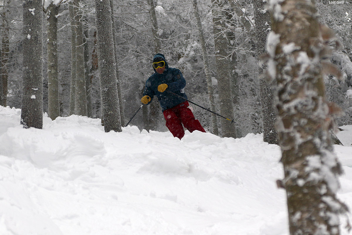 An image of Dave skiing in the Lost Girlz area at Bolton Valley Ski Resort in Vermont