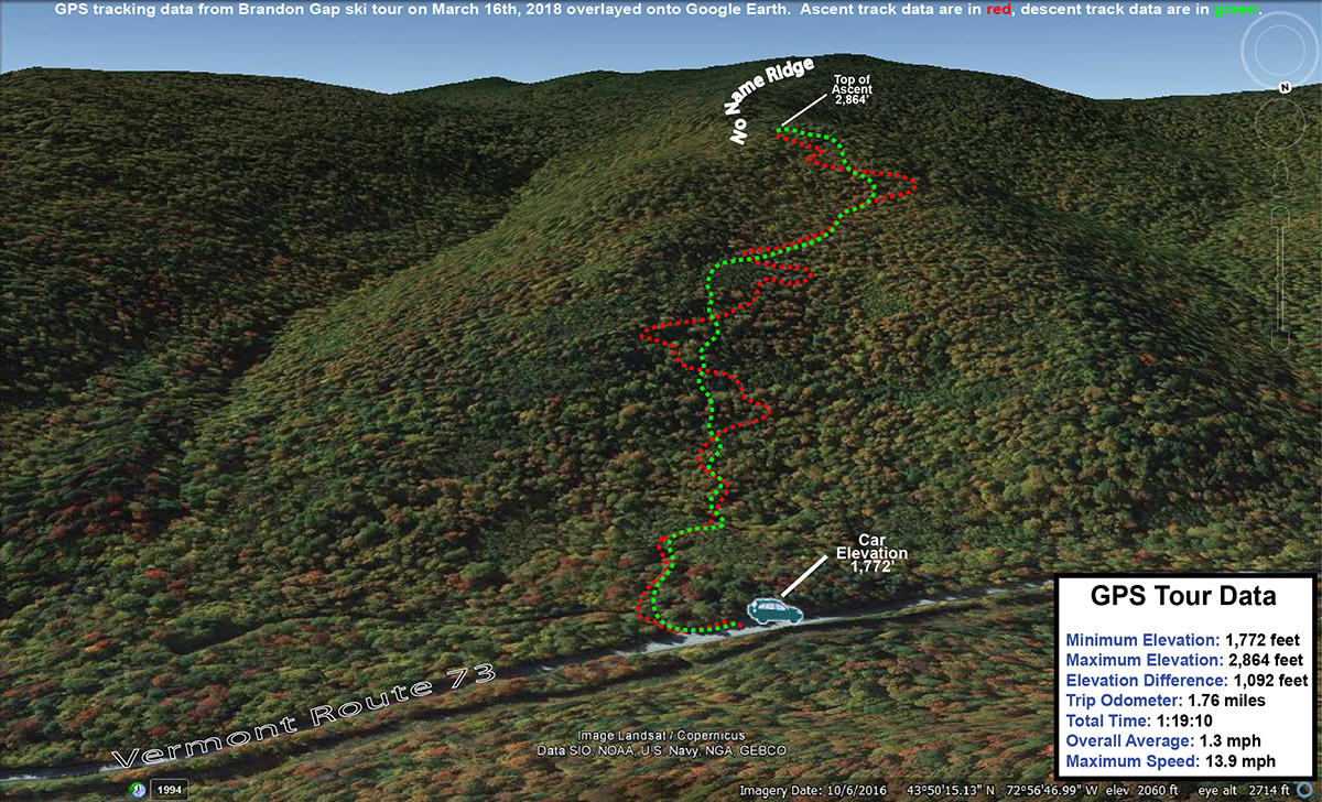 A Google Earth map showing GPS tracking data for a backcountry ski tour at Brandon Gap in Vermont