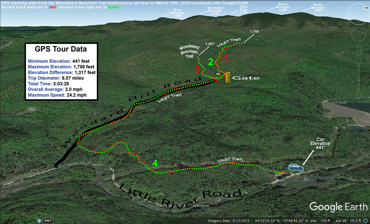 A Google Earth map with GPS tracking data for a backcountry ski tour on the Woodward Mountain Trail in the Bolton Valley backcountry