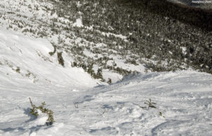An image looking down Hourglass Chute at the top of Mt. Mansfield above Stowe Mountain Resort in Vermont
