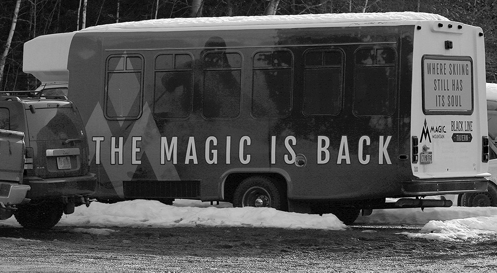 An image of a resort bus with a logo at Magic Mountain Ski Area in Vermont