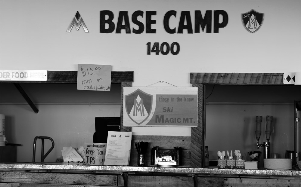 An image showing the Base Camp 1400 area of the Black Line Tavern at Magic Mountain ski area in Vermont