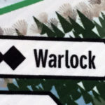 An image taken from a trail map of Magic Mountain ski area in Vermont showing the Warlock double black diamond trail