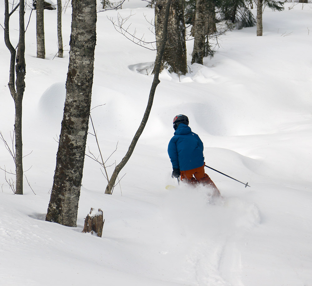 An image of Ty skiing in the Wilderness Woods area of Bolton Valley Resort in Vermont