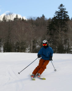 An image of Ty skiing the Cougar trail at Bolton Valley Resort in Vermont