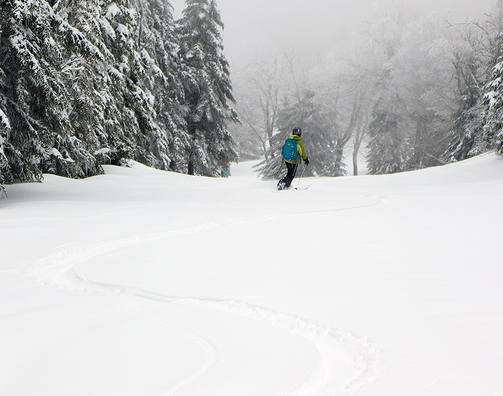 An image of Erica skiing the Alta Vista trail in fresh April powder at Bolton Valley Ski Resort in Vermont