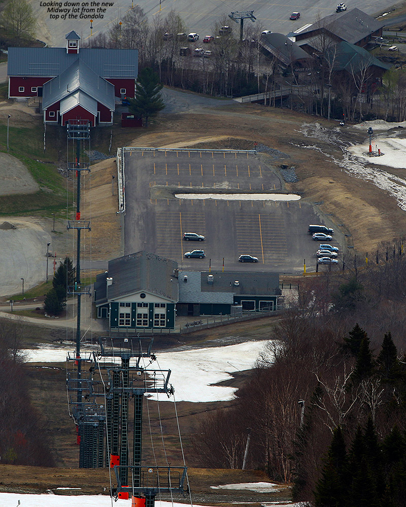 An image of one of the Midway area parking lots at Stowe Mountain Resort in Vermont, taken from the Cliff House at the top of the Gondola