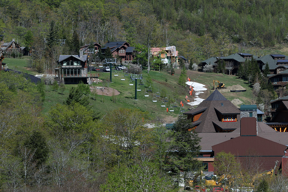 An image of the Inspiration area at Stowe Mountain Resort's Spruce Peak in May