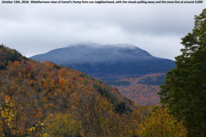 An image showing Camel's Hump in Vermont with the first snows of the 2018-2019 winter season in the Green Mountains