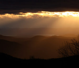 An image of afternoon light from the top of Bolton Valley Ski Resort in Vermont