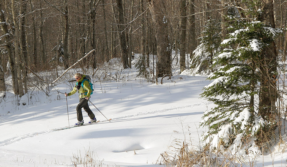 An image of Erica skinning up on a November ski tour at Bolton Valley Ski Resort in Vermont