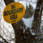 An image showing a ski area boundary sign from Bolton Valley Ski Resort in Vermont