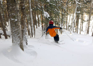 An image of Dylan skiing powder in the trees at Bolton Valley Resort in Vermont