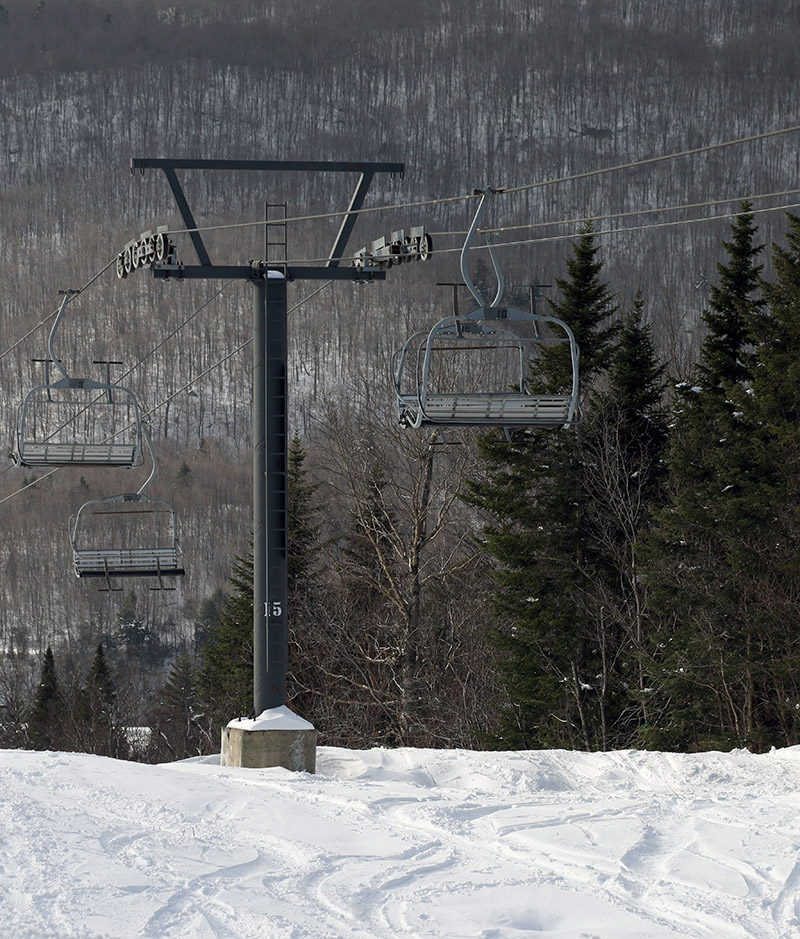 An image of the Timberline Quad from near the Timberline Summit at Bolton Valley Ski Resort in Vermont