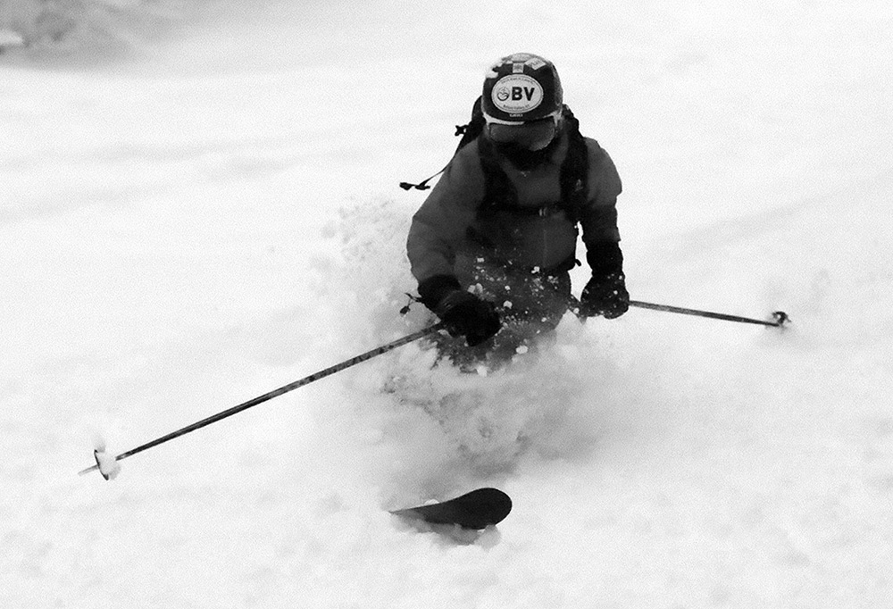 An image of Ty Telemark skiing during Winter Storm Bruce at Bolton Valley Resort on Vermont