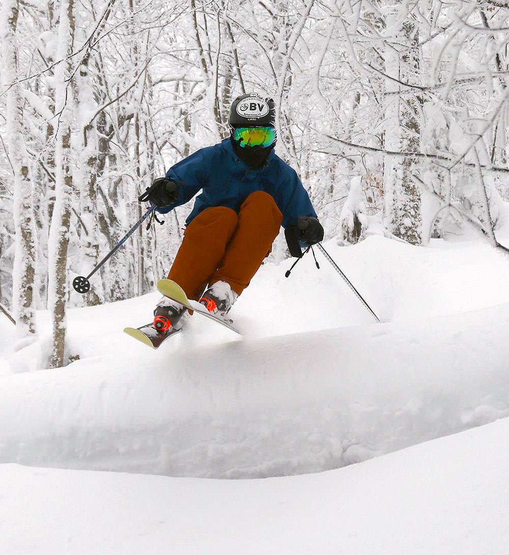 An image of Ty skiing in Maria's area at Bolton Valley Resort in Vermont