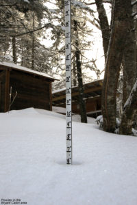 An image showing six inches of powder near the Bryant Cabin on the Bolton Valley Nordic & Backcountry Network at Bolton Valley Ski Resort in Vermont