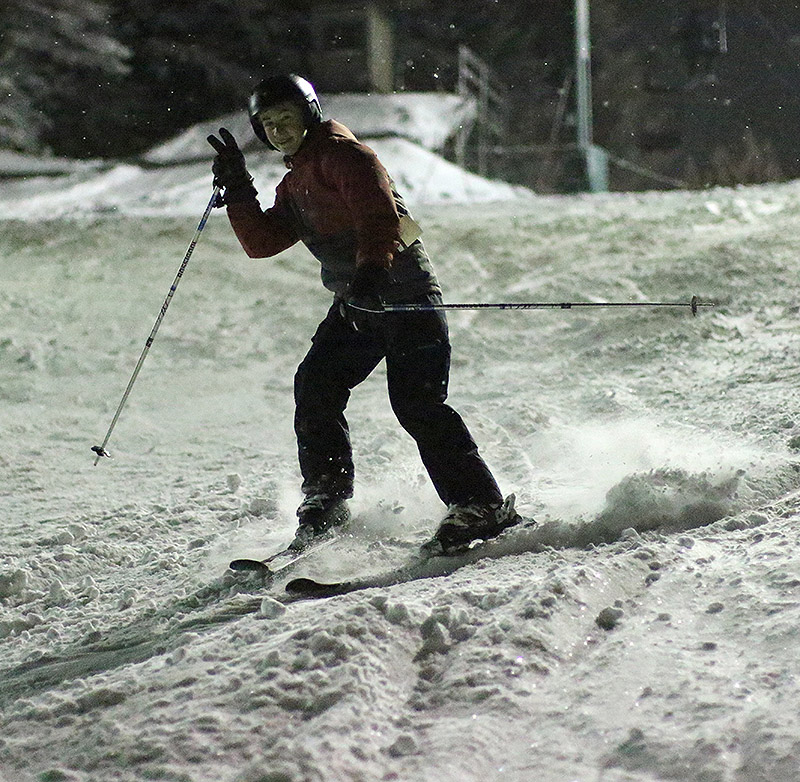 An image of Jack night skiing on the Beech Seal trail at Bolton Valley Resort in Vermont