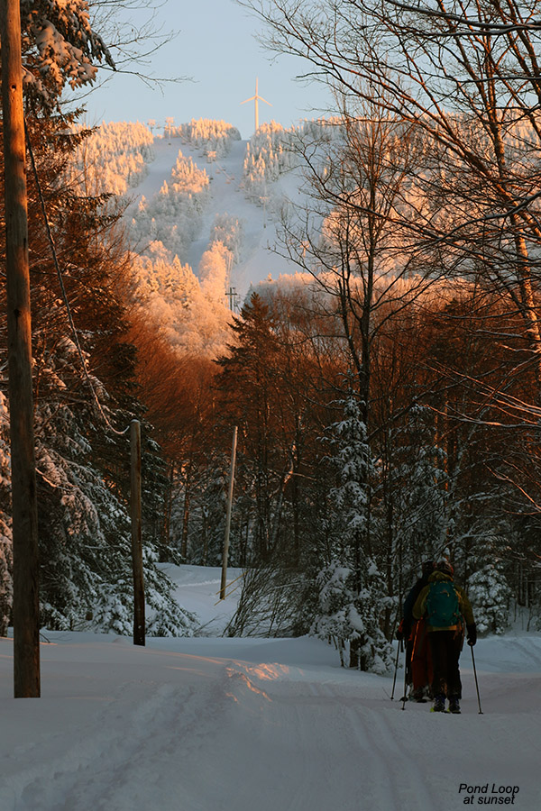 An image of people ski touring on the Pond Loop trail near sunset with some of Bolton Valley Resort's alpine trails in the background