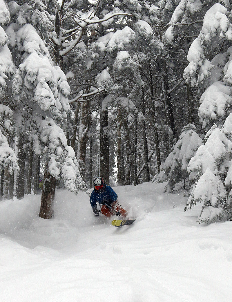 An image of Ty skiing the Lost Girlz area at Bolton Valley Resort in Vermont