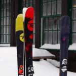 An image of skis at the Timberline Lodge at Bolton Valley Ski Resort in Vermont