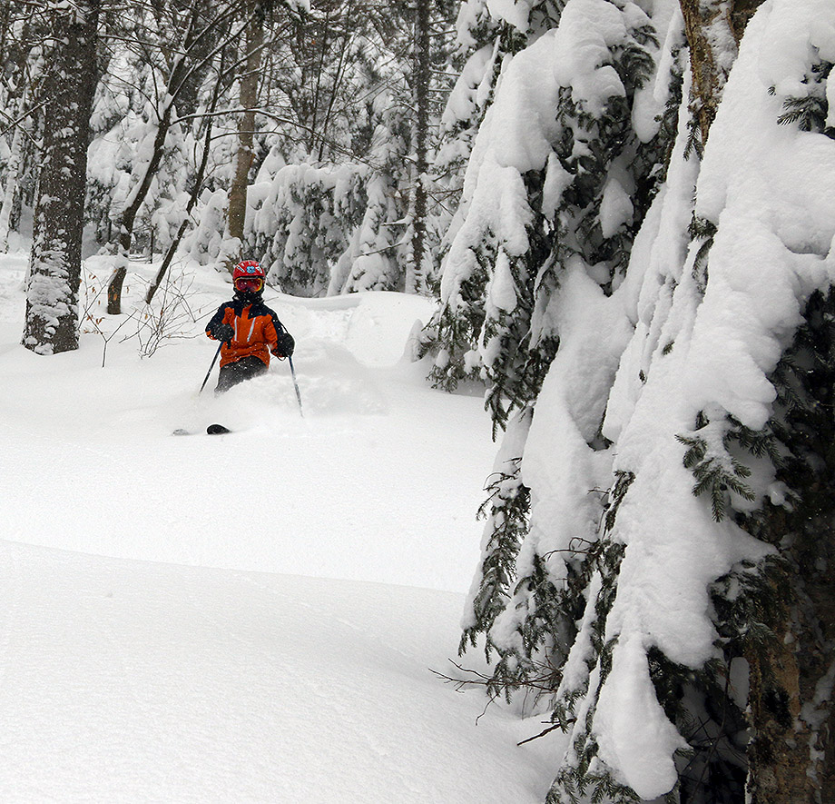 An image of Dylan skiing powder snow in the KP Glades are of Bolton Valley Resort in Vermont