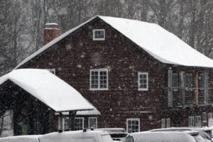 An image of the Barnes Camp building near Stowe Mountain Ski Resort in Vermont