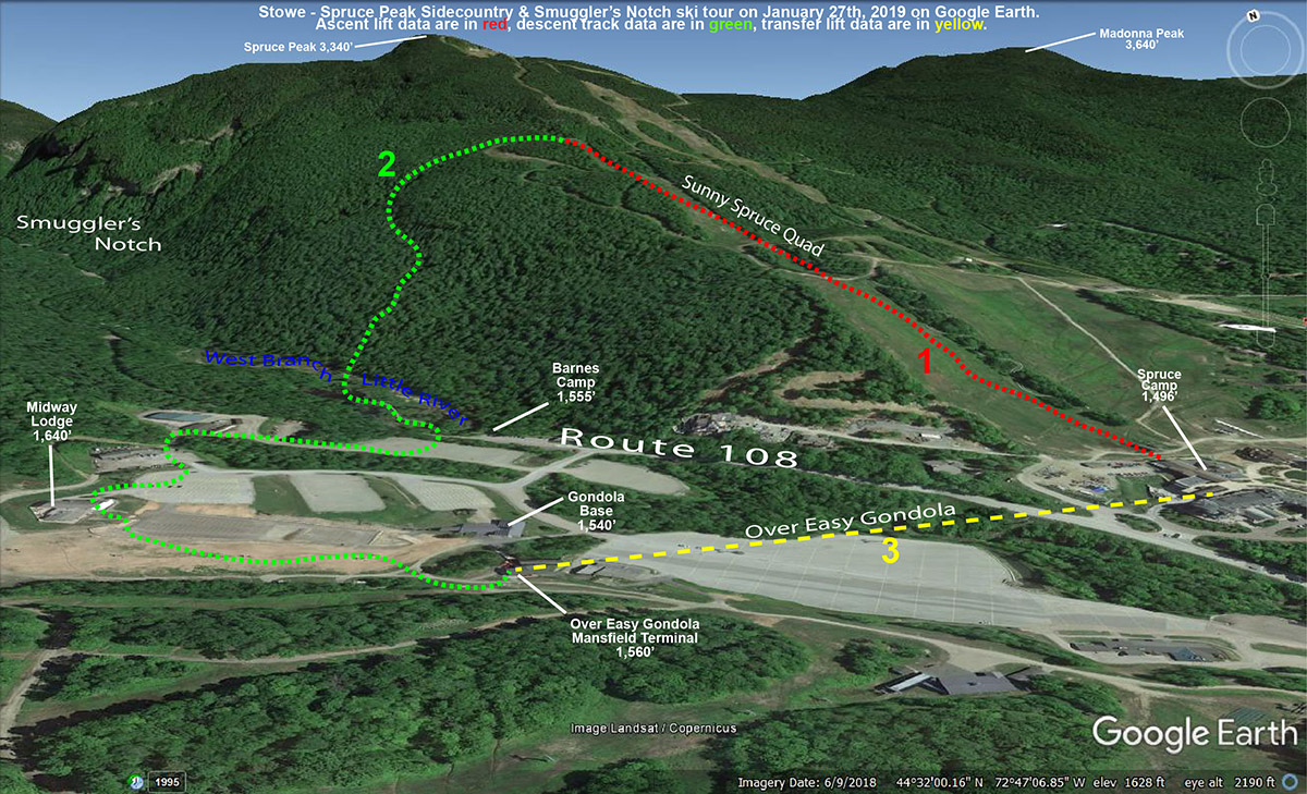 A Google Earth map tracing a ski tour from Spruce Peak at Stowe Mountain Resort down into the Smuggler's Notch sidecountry in Vermont