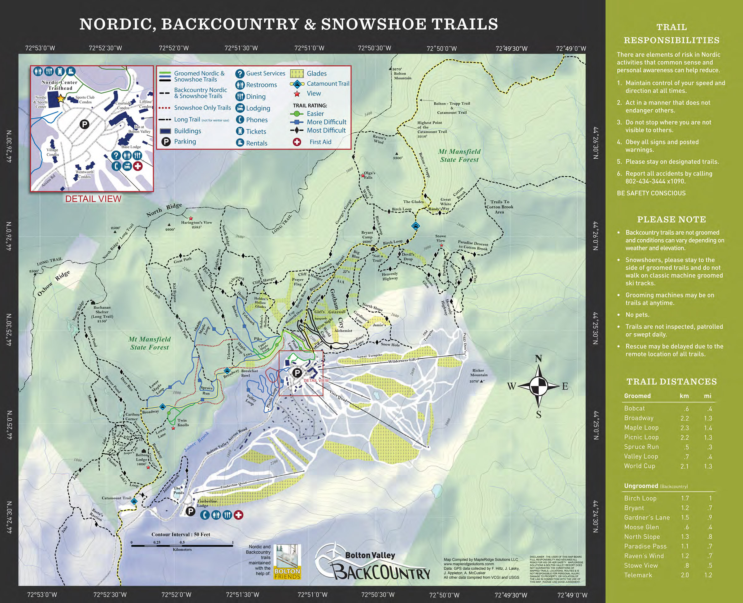 A copy of the 2018-2019 Nordic and Backcountry trail map from Bolton Valley Ski Resort in Vermont