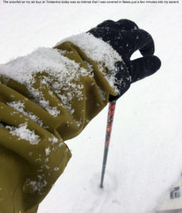 An image showing snow accumulation on a ski jacket due to intense snowfall at Bolton Valley Ski Resort in Vermont