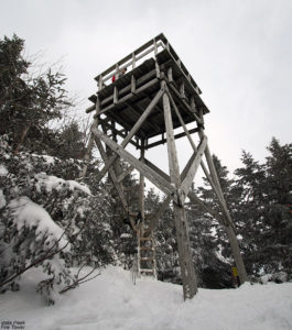 An image of the fire tower atop Vista Peak at Bolton Valley Ski Resort in Vermont