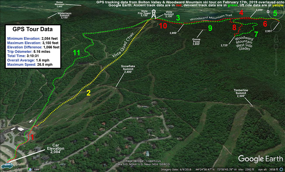 A map with GPS Tracking data from a ski tour at Bolton Valley and the Woodward Mountain Trail overlayed onto Google Earth