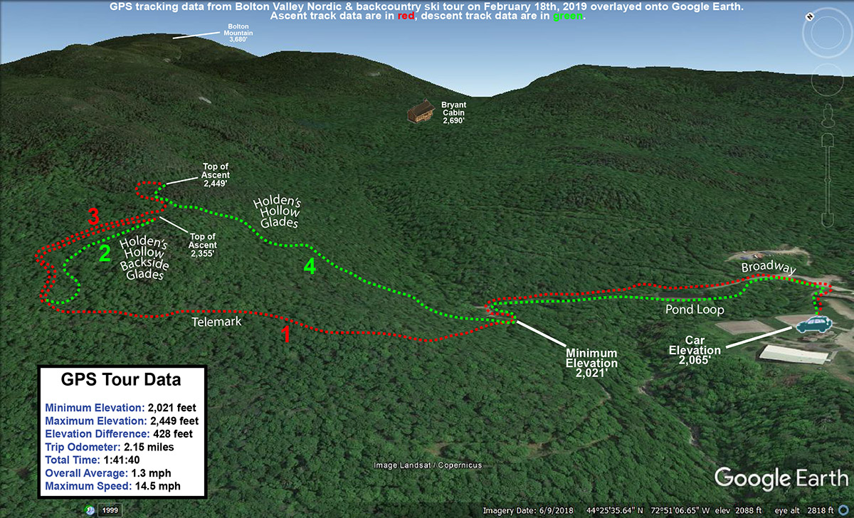 An image showing a Google Earth map with GPS tracking data of a ski tour on the Nordic and Backcountry Network at Bolton Valley Resort in Vermont
